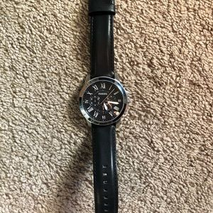 Fossil Grant Chronograph Black Leather Watch